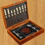 Набор 7 в1 фляжка с Гербом, 4 рюмки, воронка, шахматы, 18х24 см 3470683